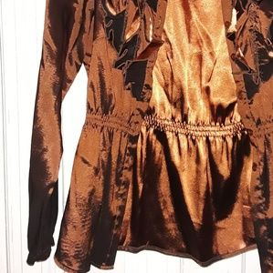 Tops - Dark Shiny Earth Brown Soft Blouse with Ruffles